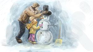 Hóemberes képeslap küldés